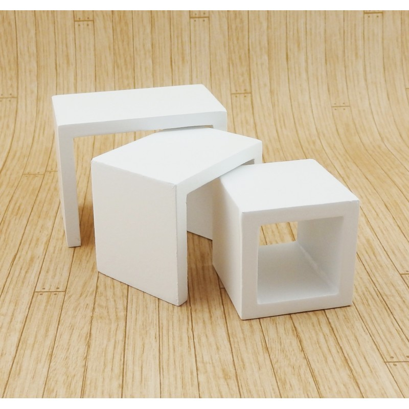 Dolls House Modern White Nest of Tables Contemporary 1:12 Furniture