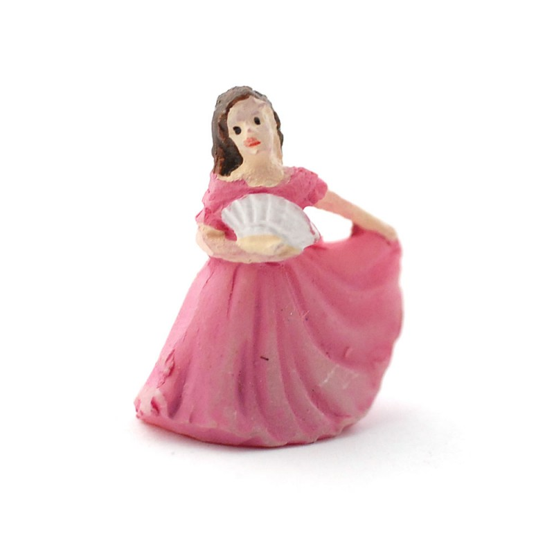 Dolls House Lady in Pink Gown Figurine Miniature Ornament Accessory