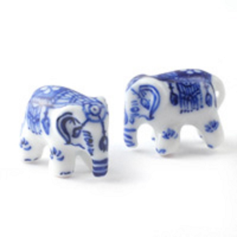Dolls House Blue Delft Ornamental Elephants Miniature Accessory
