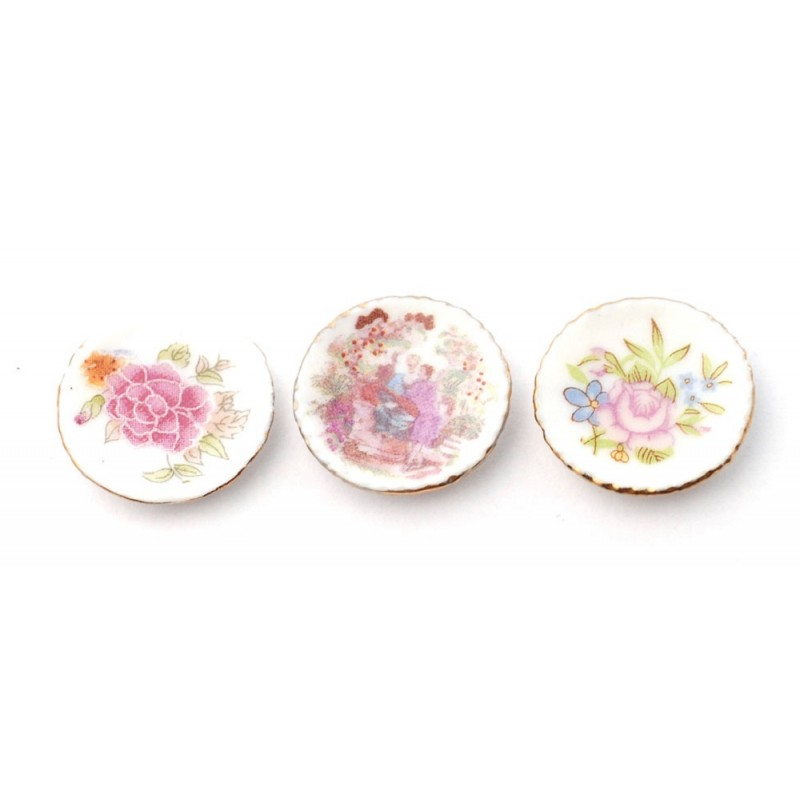 Dolls House Ornamental Picture Plates Decorative Display Accessory