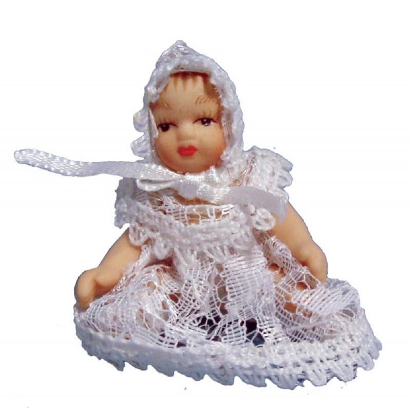 Dolls House Victorian Baby in White Lace Miniature Porcelain People