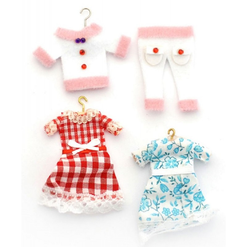 Dolls House Little Girls Clothes on Hangers Shop Nursery Accessory