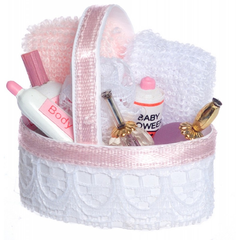 Dolls House Pink Toiletry Cosmetics Basket Miniature 1:12 Bathroom Accessory