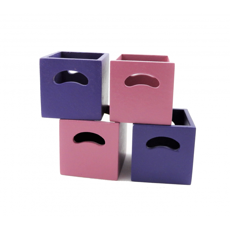 Dolls House 4 Modern Purple & Pink Cube Storage Boxes Miniature 1:12