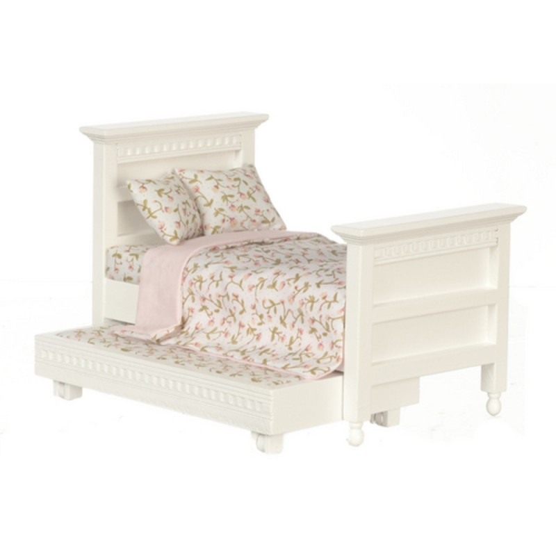 Dolls House Miniature 1:12 Bedroom Furniture White Wood Single Trundle Guest Bed