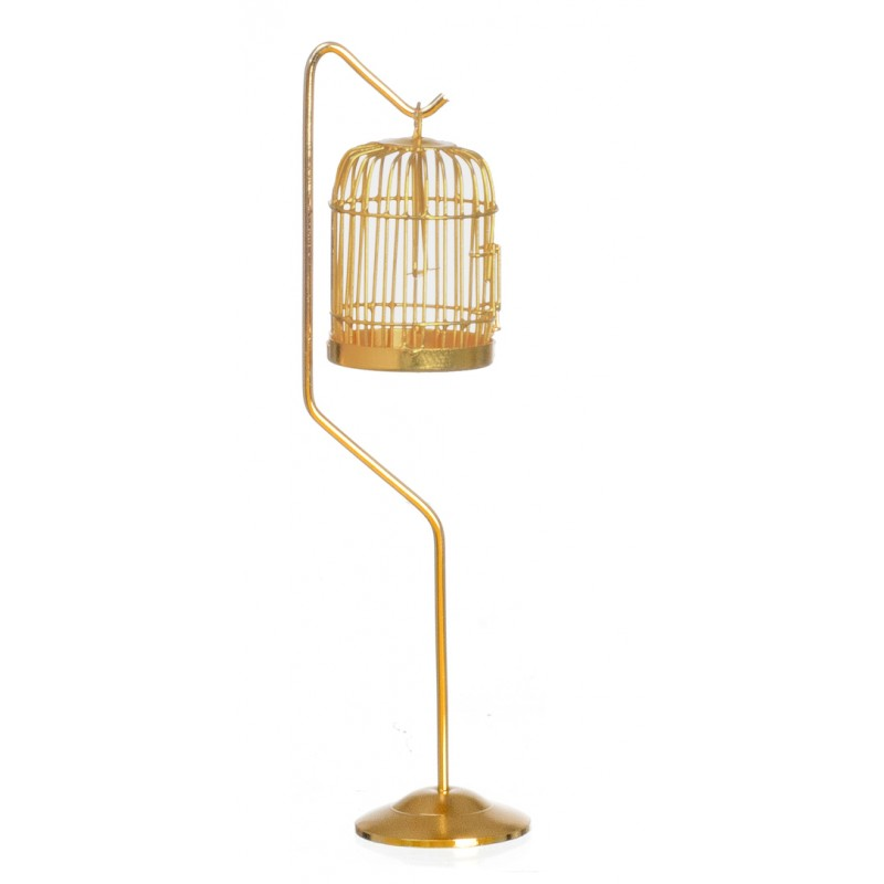 Dolls House Miniature 1:12 Scale Victorian Pet Accessory Brass Bird Cage & Stand