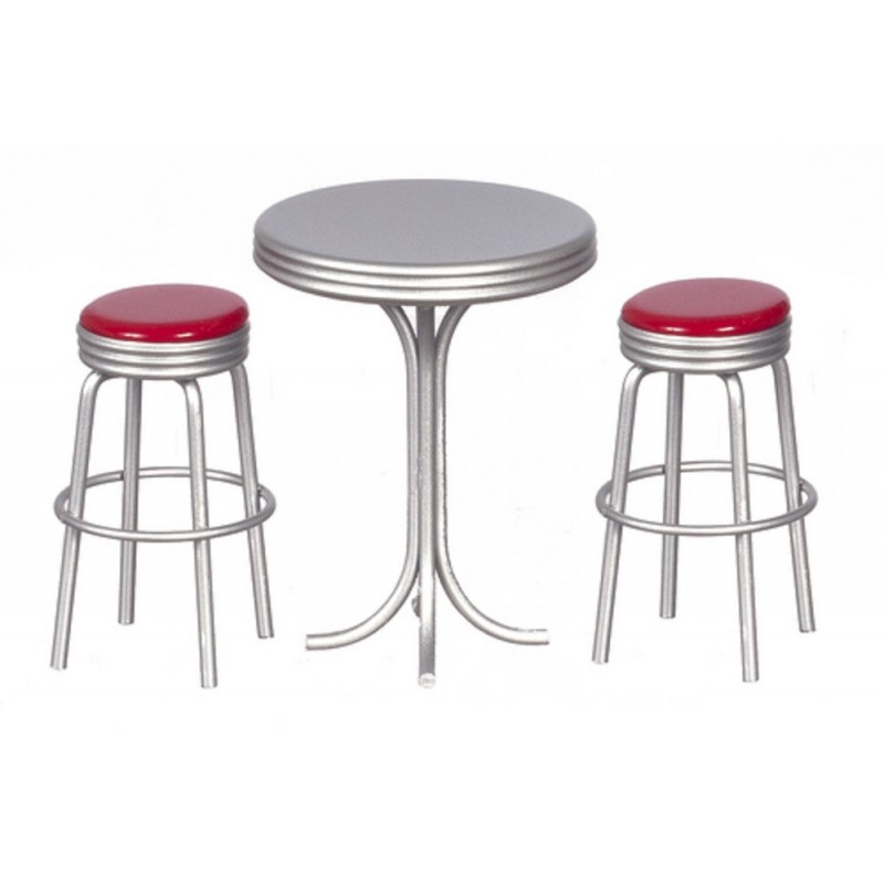 Dolls House Kitchen Furniture 1950`s Tall Round Bistro Table with 2 Stools in Re