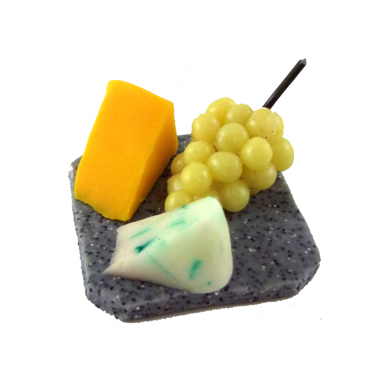 Dolls House Cheese Grapes on Marble Board Miniature Hand Made Dining Accessory