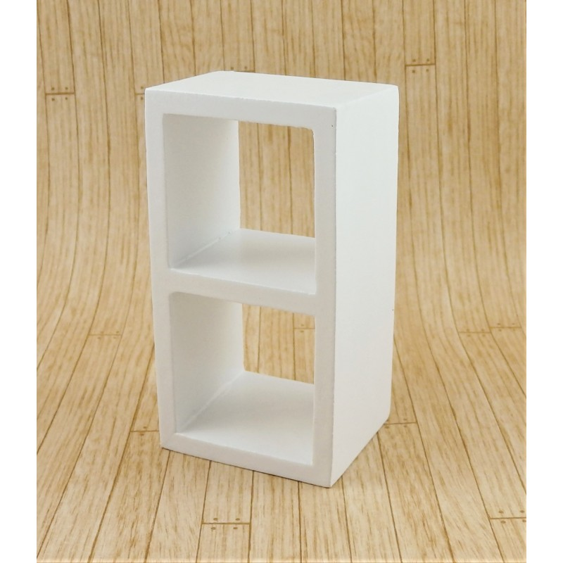 Dolls House 2 Cube Display Unit Modern White Wood Shelves Miniature