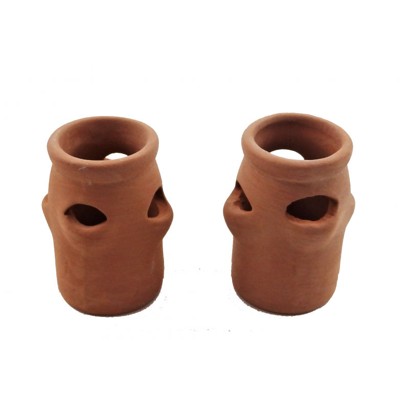 Dolls House 2 Clay Terracotta Strawberry Plant Pots Garden Accessory