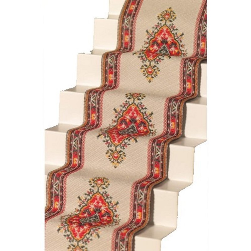 Dolls House Woven Stair Carpet Runner Cream Red Miniature Flooring