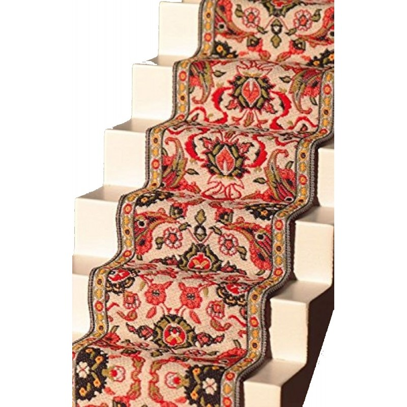 Dolls House Woven Stair Carpet Runner Red Green Miniature Flooring