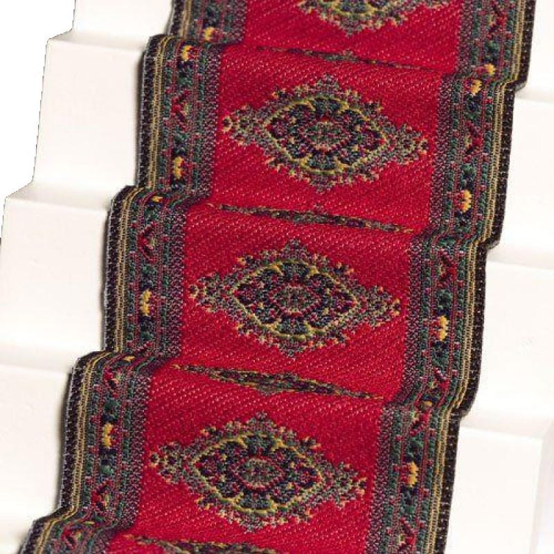 Dolls House Woven Stair Carpet Runner Red 1:12 Miniature Flooring