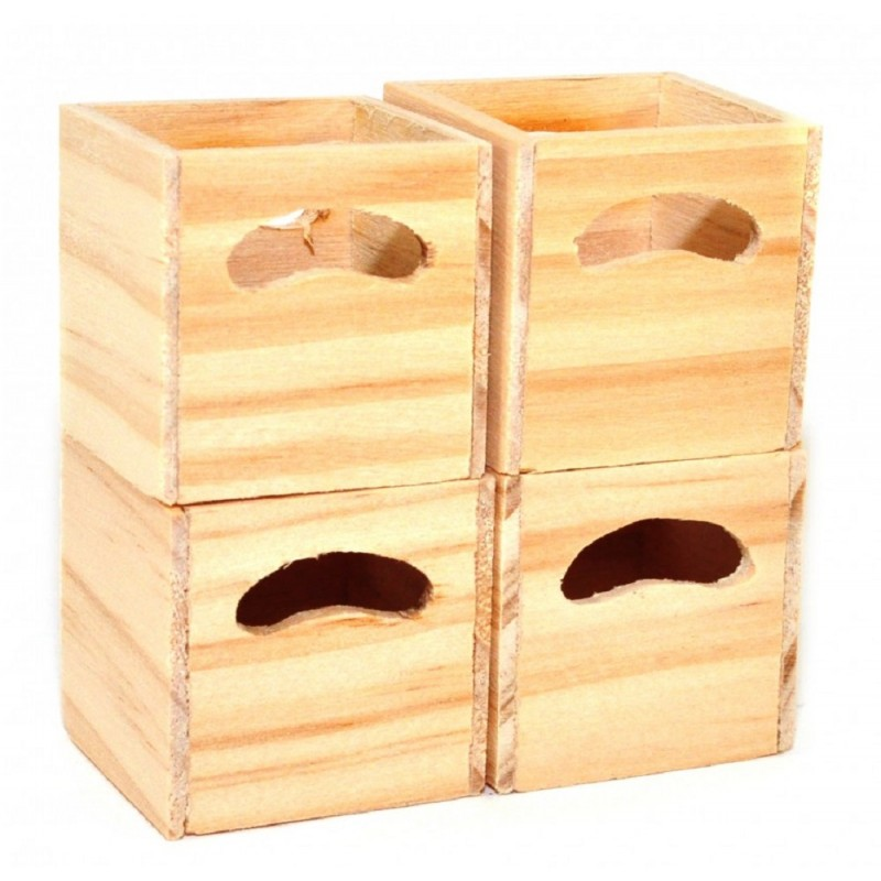 Dolls House 4 Modern Bare Wood Cube Storage Boxes Miniature 1:12