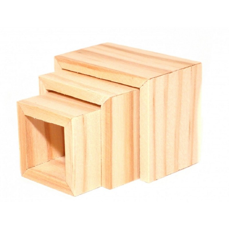 Dolls House Modern Bare Wood Nest of Tables Contemporary Furniture
