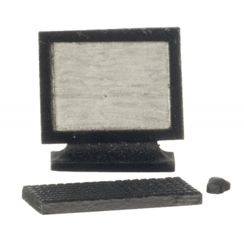 Dolls House Black Computer Modern Miniature Office Study Accessory