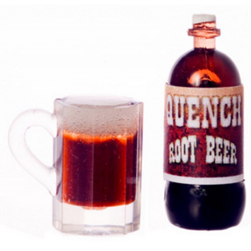 Dolls House Bottle & Pint of Root Beer 1:12 Miniature Accessory