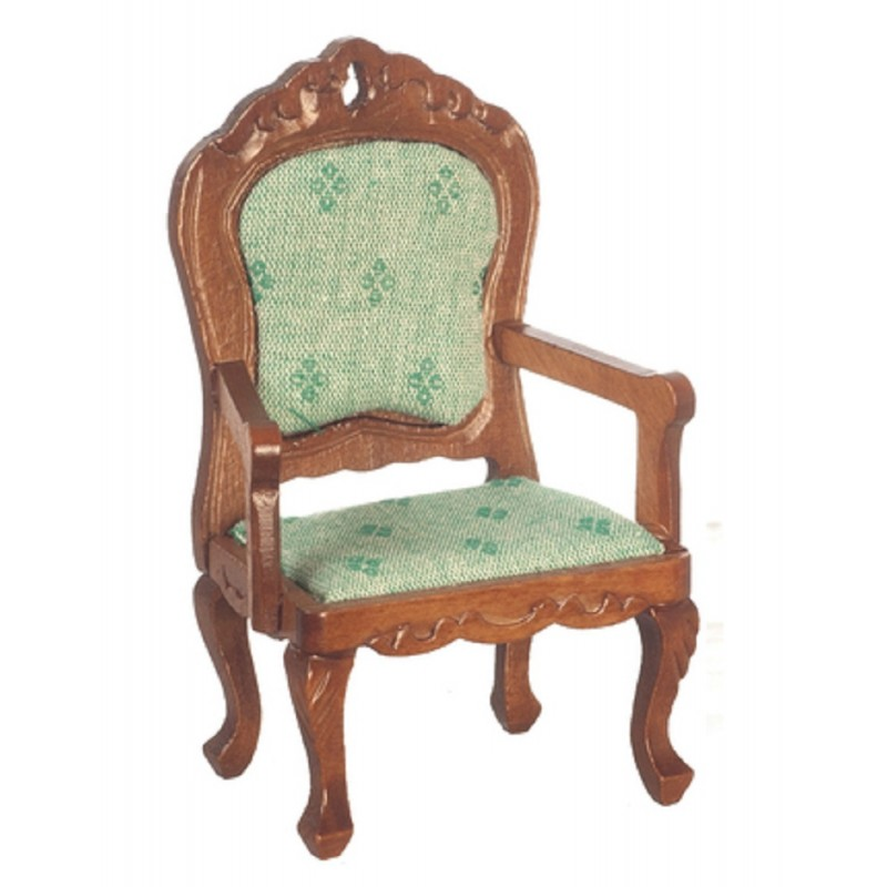 Dolls House Walnut & Green Fauteuil Armchair Victorian Living Room Furniture