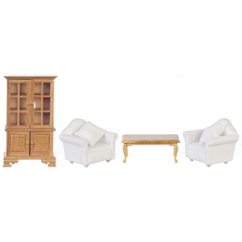 Dolls House Modern Living Room Furniture Set Light Oak & White 1:12
