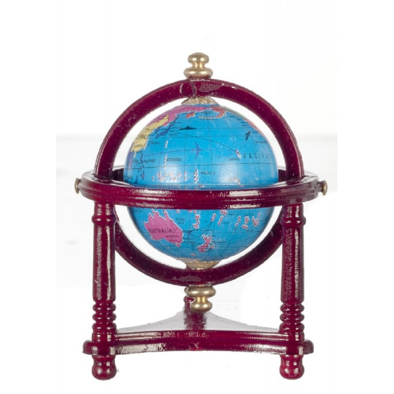 Dolls House World Globe in Mahogany Stand Miniature School Accessory