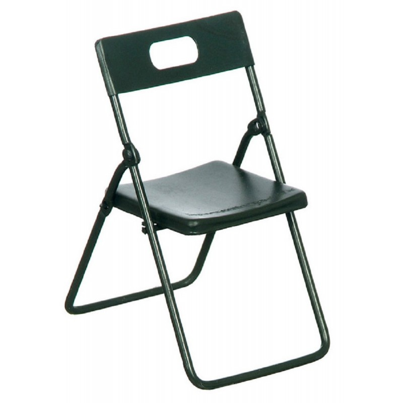 Dolls House Black Metal Folding Chair Modern Kitchen Cafe Furniture