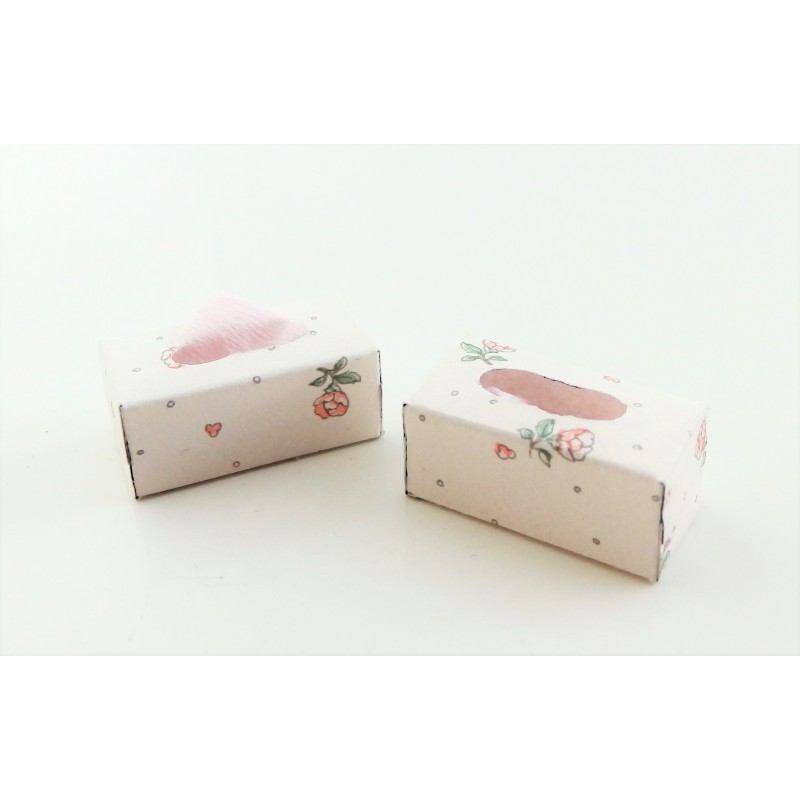 Dolls House 2 Tissue Boxes Miniature Bedroom Bathroom Accessory