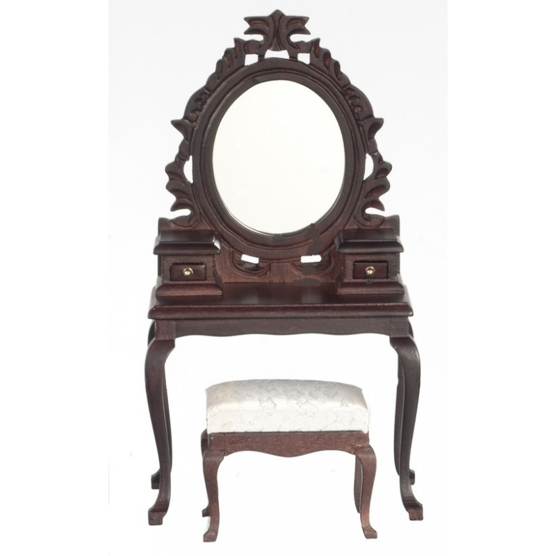 Dolls House Bedroom Furniture Elegant Mahogany Vanity Dressing Table and Stool 334