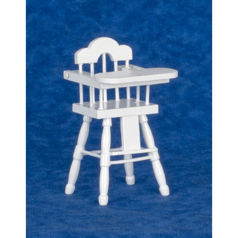 Dolls House Miniature Nursery Furniture Baby`s White Wood Highchair High Chair