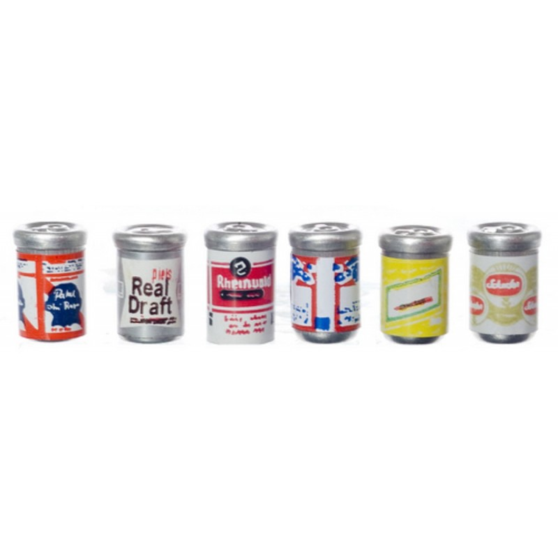 Dolls House Miniature 1:12 Scale Pub Drinks Shop Accessory 6 Beer Cans Ale Tins