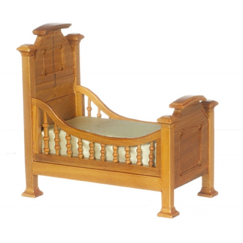 Dolls House Walnut Renaissance Youth Bed Baby Cot Miniature Nursery Furniture