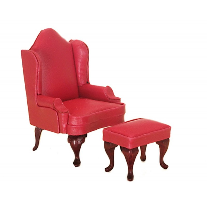 Dolls House Miniature 1:12 Furniture Red Leather Wing Back Arm Chair nd Footrest