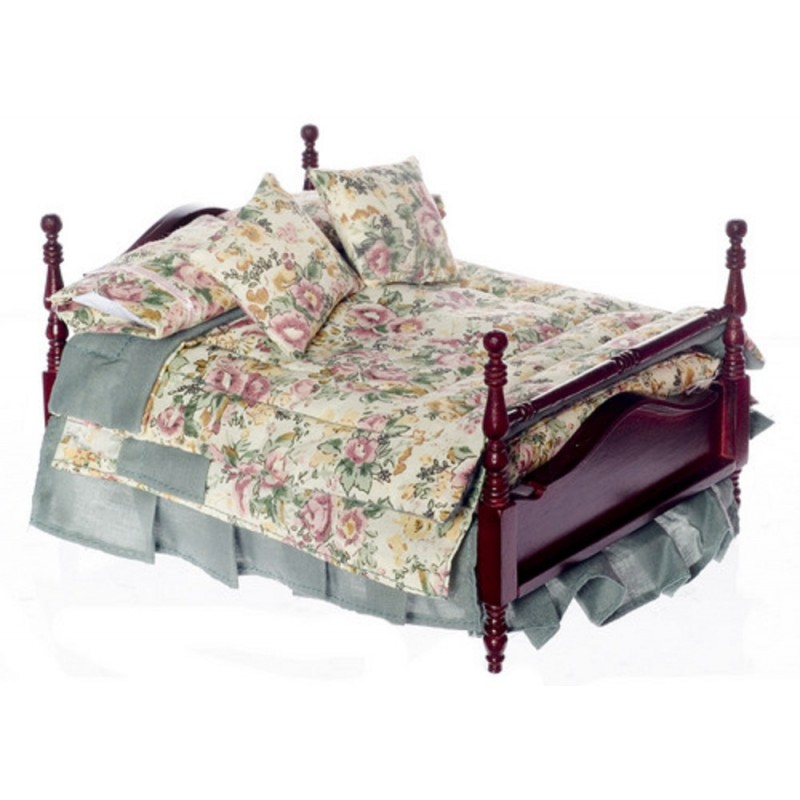Dolls House Mahogany 4 Poster Double Bed & Bedding Miniature Bedroom Furniture