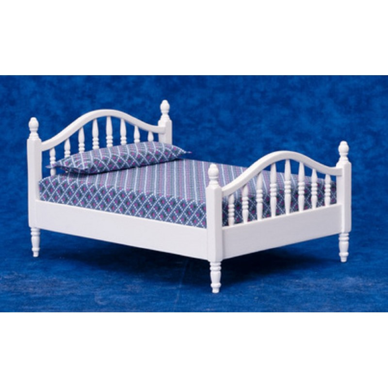Dolls House White Spindle Double Bed Miniature Bedroom Furniture 1:12 Scale