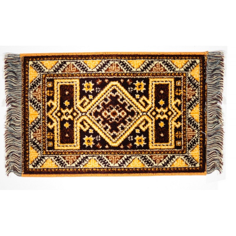 Dolls House Yellow Patterned Kasak Fringed Rug Miniature Flooring Accessory