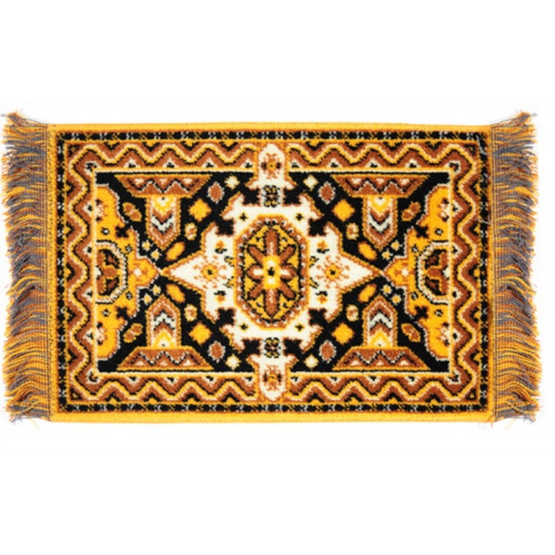 Dolls House Miniature Flooring Accessory Yellow Patterned Soumak Fringed Rug