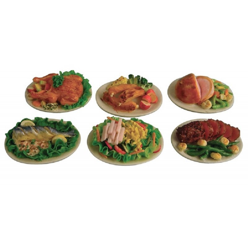 Dolls House 6 Plates of Food Beef Fish Pork etc Miniature Dining Room Accessory