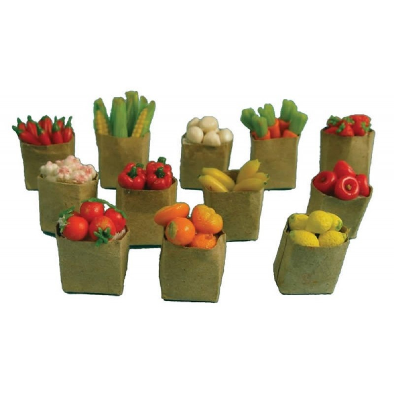 Dolls House Brown Paper Bags Full of Fruit & Veg Kitchen Food Shop Accessory