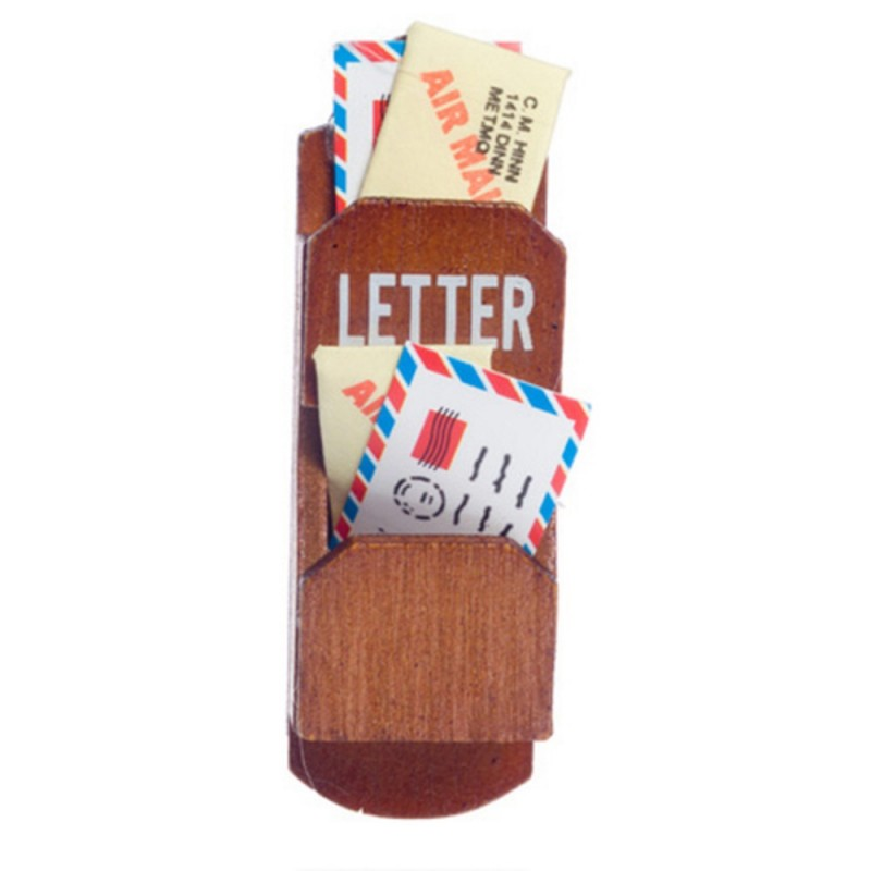 Dolls House Wooden Wall Letter Mail Holder Miniature Kitchen Hall Accessory 1:12