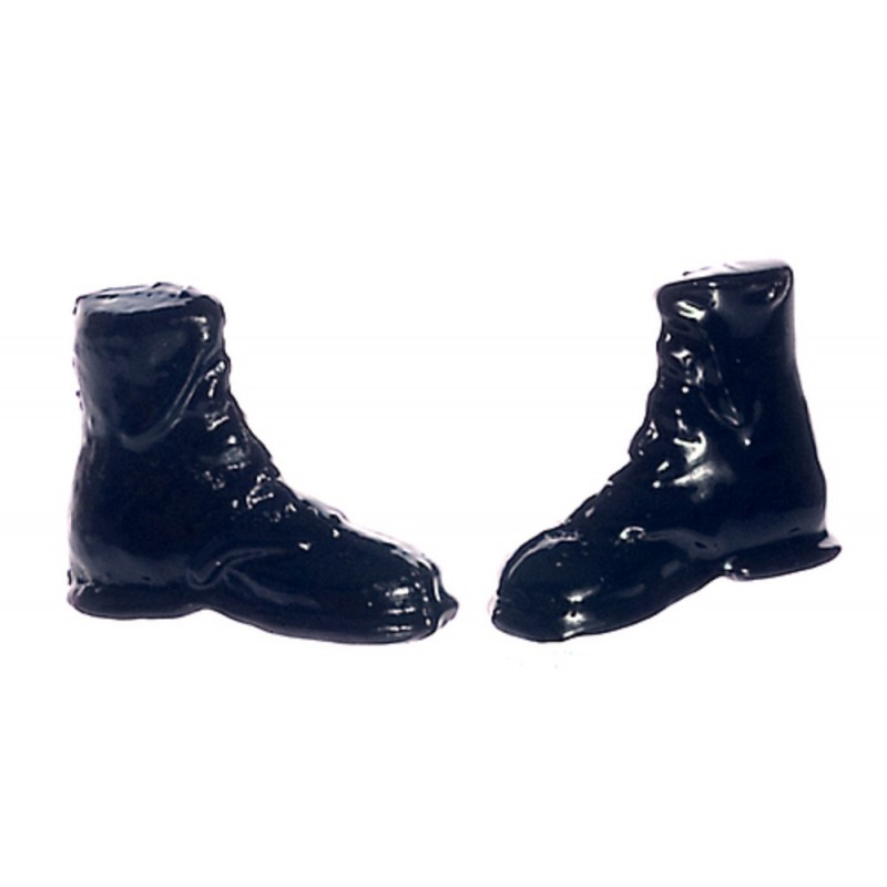 Dolls House Black Hiking Boots Miniature Shoe Shop Hall Bedroom Accessory 1:12
