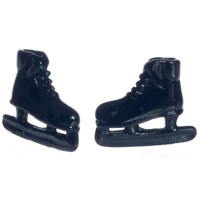 Dolls House Black Ice Skates Miniature Shoe Shop Hall Bedroom Accessory 1:12