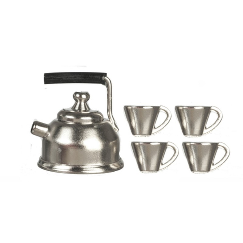 Dolls House Chrome Kettle & Mug Cup Set Miniature Kitchen Accessory 1:12 Scale