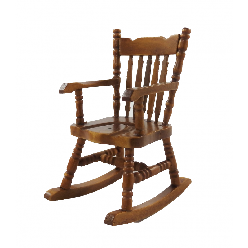 Dolls House Boston Rocking Chair Rocker Polished Walnut Miniature Furniture