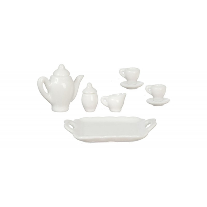 Dolls House Plain White Tea Set Porcelain Dining Room Accessory 1:12