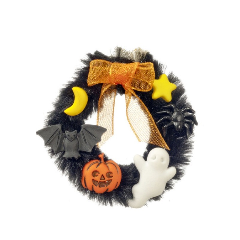 Dolls House Halloween Wreath Spooky Front Door Accessory Miniature 1:12 Scale