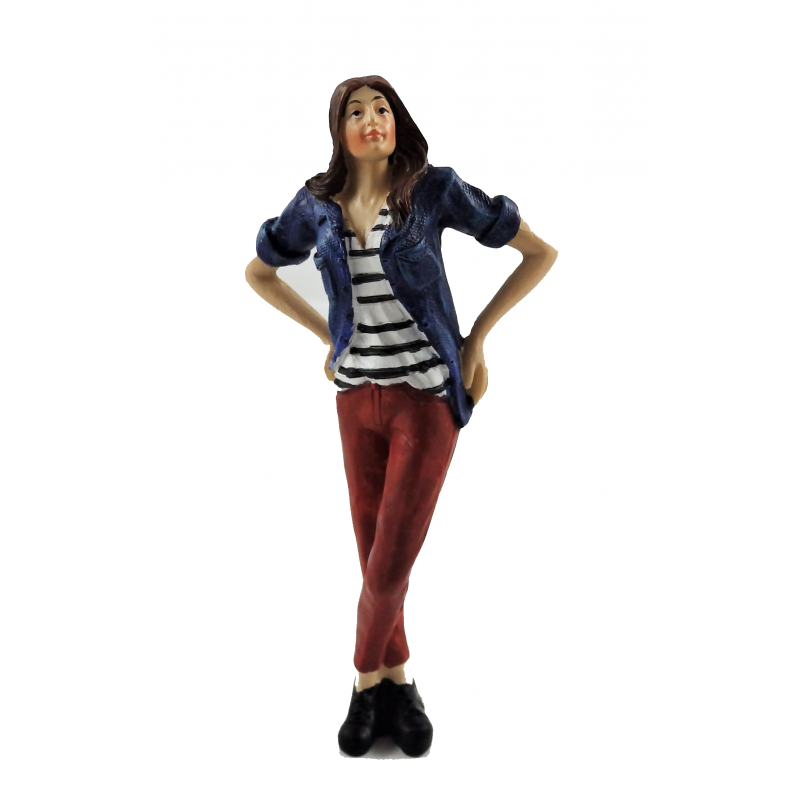 Dolls House People Modern Woman in Denim Shirt Resin Figure