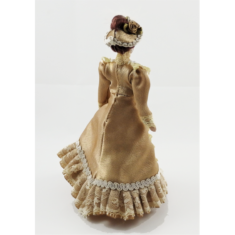 Dolls House Victorian Lady in Coffee Outfit Porcelain 1:12 People
