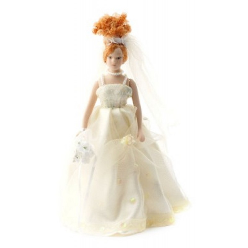 Dolls House Bride in Ecru Porcelain Wedding Figure w Updo Lady Woman