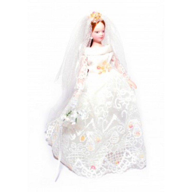 Dolls House Bride w Long Hair Porcelain Wedding Figure Lady Woman