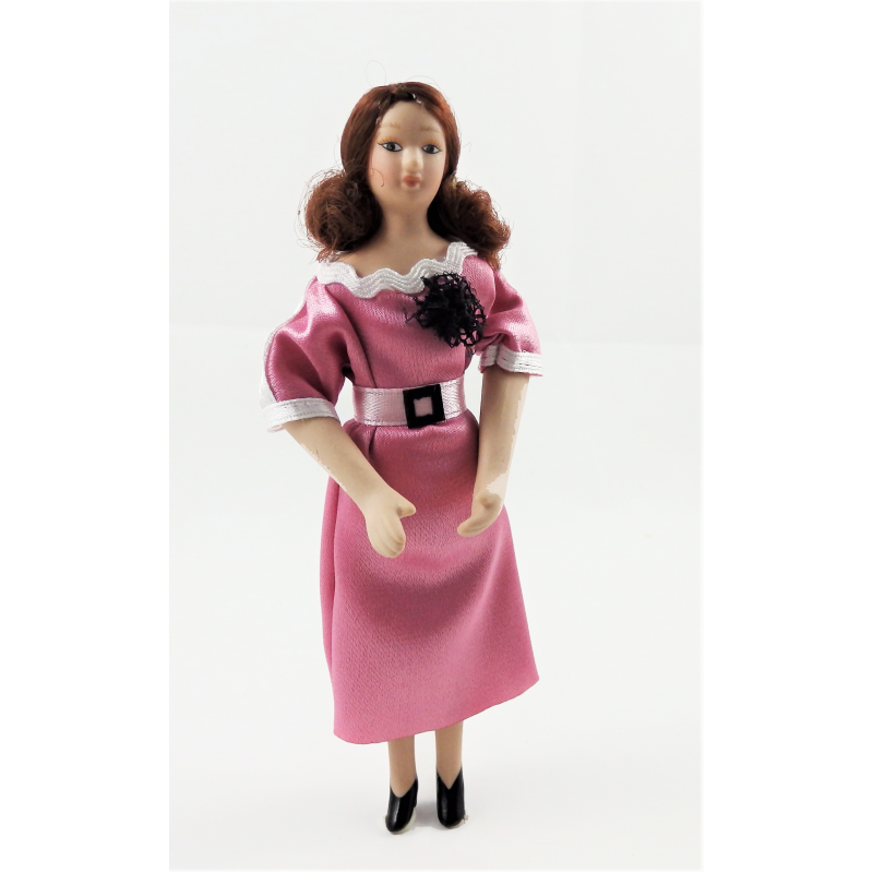 Dolls House Modern Lady in Smart Pink Dress Porcelain 1:12 People