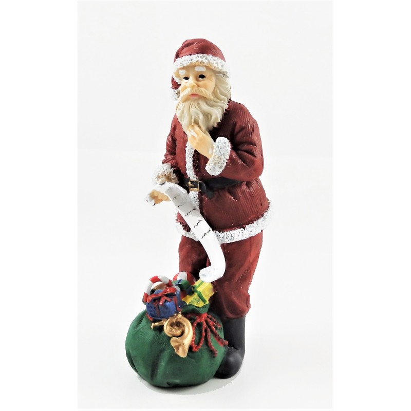 Dolls House Father Christmas with Sack of Toys & His List Santa Clause Figure